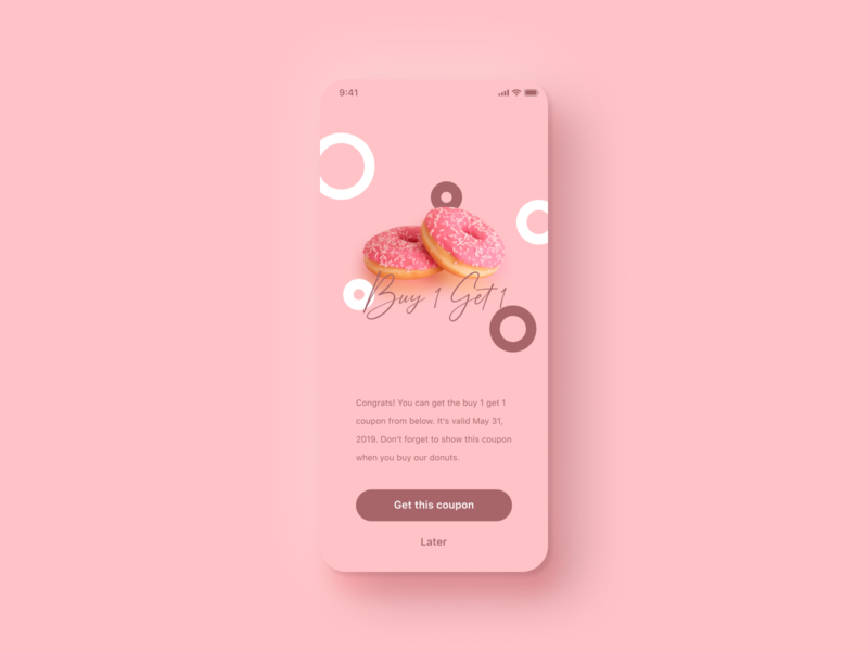 Daily UI Challenge #036 Special Offer reward design girly pretty cute iphone mobile app ios cook simple brown pink donuts buy 1 get 1 coupon offer special daily ui