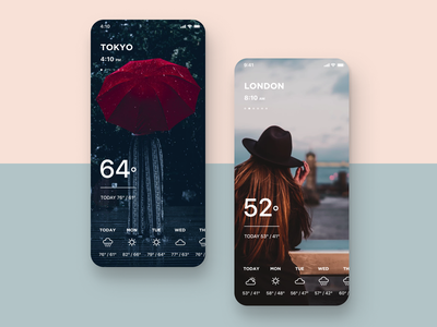 Daily UI Challenge #037 Weather product gps location time world clock london tokyo blue red mature cool clean simple design weather mobile iphone ios app daily ui
