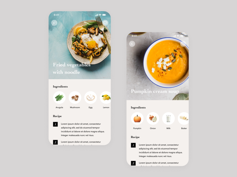 Daily UI Challenge #040 Recipe content design light ui rich delicious gray white clean simple process food meal cooking recipe iphone ios mobile app daily ui