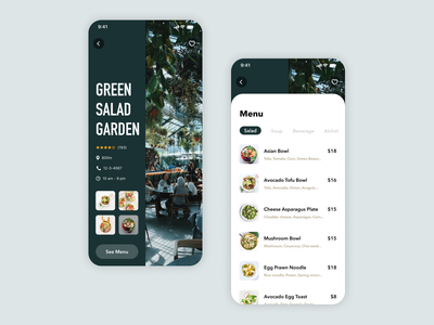 Daily UI Challenge #043 Food/Drink Menu black nature card white green design product iphone app ios mobile clean simple salad cafe restaurant menu drink food daily ui
