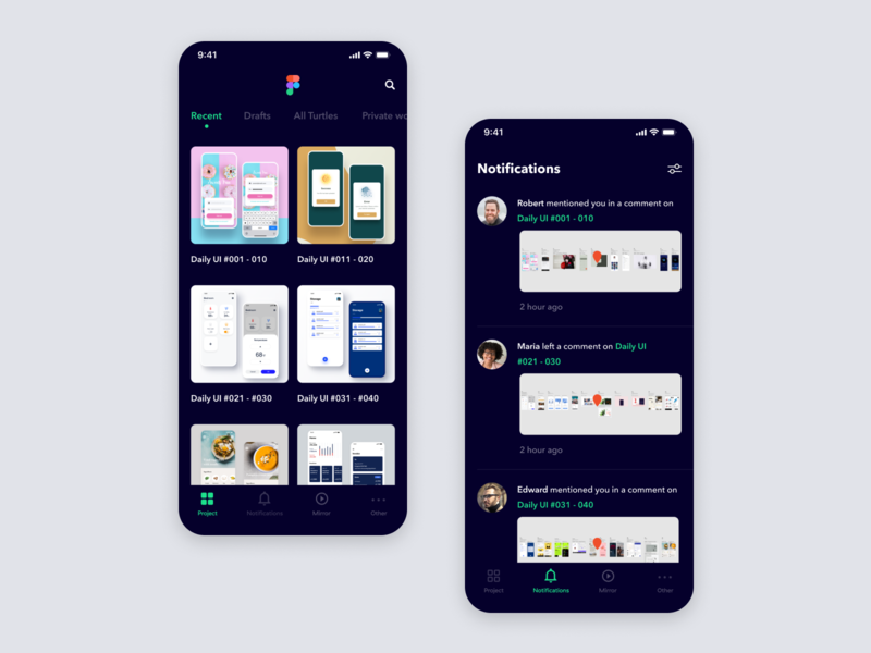 Daily UI Challenge #047 Activity Feed ui dark tool gallery thumb comment design viewer mirror green black notifications activity feed figma iphone mobile app ios daily ui simple