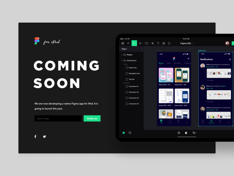 Daily UI Challenge #048 Coming Soon product clean simple app dark green black white redesign concept redesign sketch design tool tablet ios ipad webdesign figma web coming soon daily ui