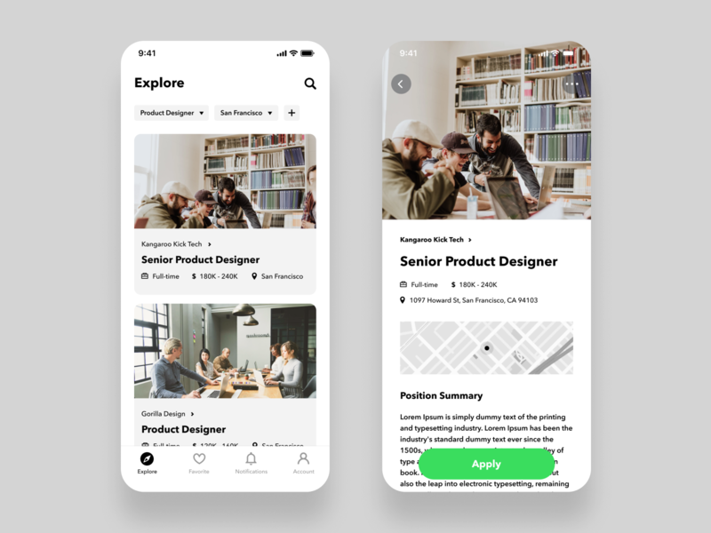 Daily UI Challenge #050 Job Listing figma design product green white apply explore notifications favorite job search recruit work job listing iphone ios mobile app simple daily ui dailyui