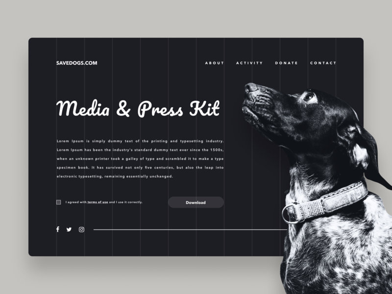 Daily UI Challenge #051 Press Page animal grid clean typography white ui design resource asset download black dog simple product brand press kit press page media kit web daily ui