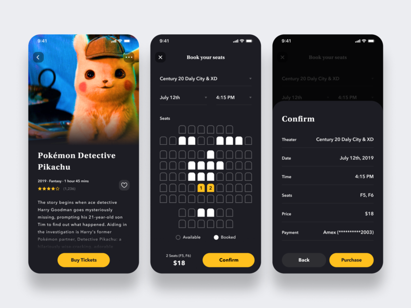 Daily UI Challenge #054 Confirmation dark mode design card theater cinema movies seattle reservation ticket book reserve confirmation movie pikachu pokemon black iphone mobile app ios daily ui