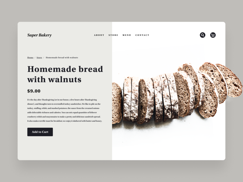 Daily UI Challenge #056 Breadcrumbs card dynamic typography design simple delicious delivery online shopping cart gray white food shop store product web bakery breadcrumbs bread daily ui