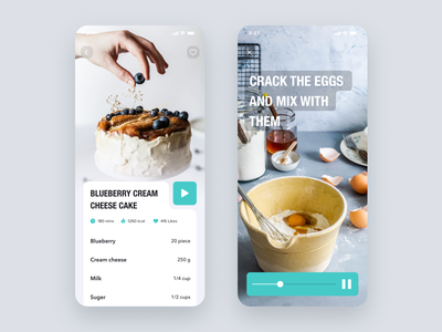 Daily UI Challenge #057 Video Player product white blue ui card iphone design dailyui simple mobile ios app cooking movie player video player recipe daily ui