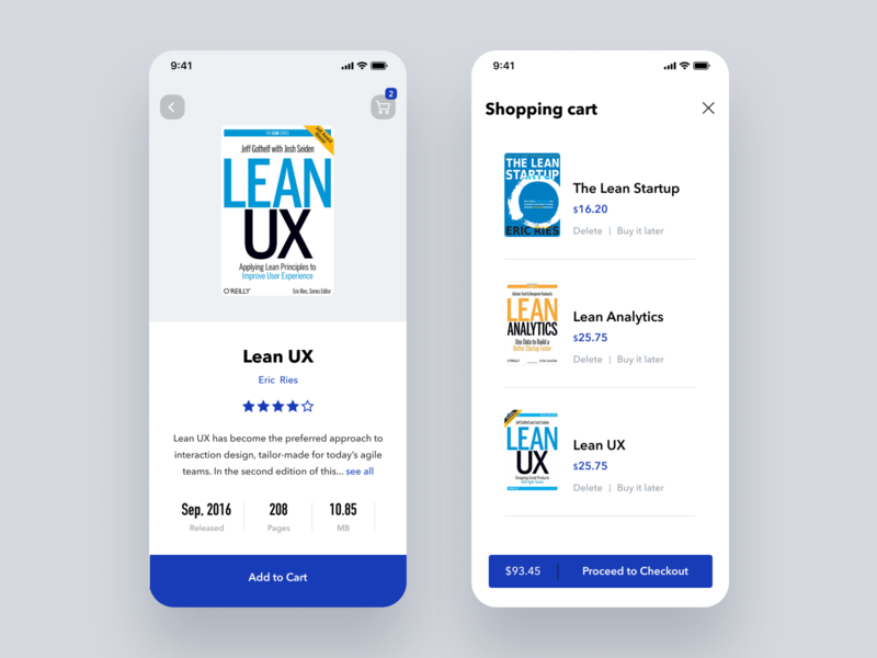 Daily UI Challenge #058 Shopping Cart amazon kindle product ui design blue white lean startup lean ux book online shopping cart shopping cart iphone ios mobile app dailyui daily ui simple