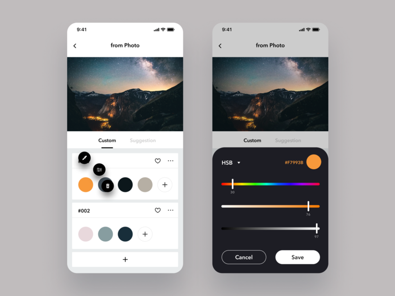 Daily UI Challenge #060 Color Picker product picker trashcan edit white slider setting modal design dailyui card ui color picker color simple iphone app mobile ios daily ui