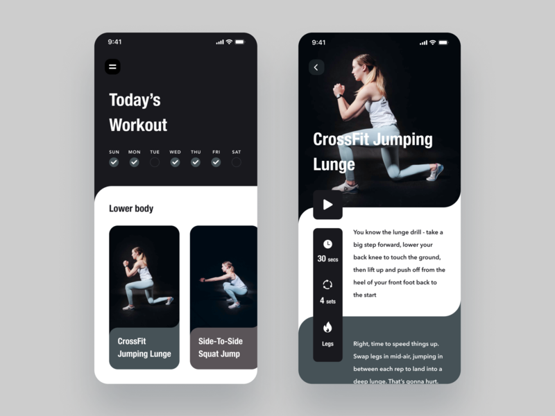 Daily UI Challenge 062 Workout Of The Day sports branding product black white ui simple design fitness training card daily workout of the day workout app iphone ios mobile daily ui dailyui