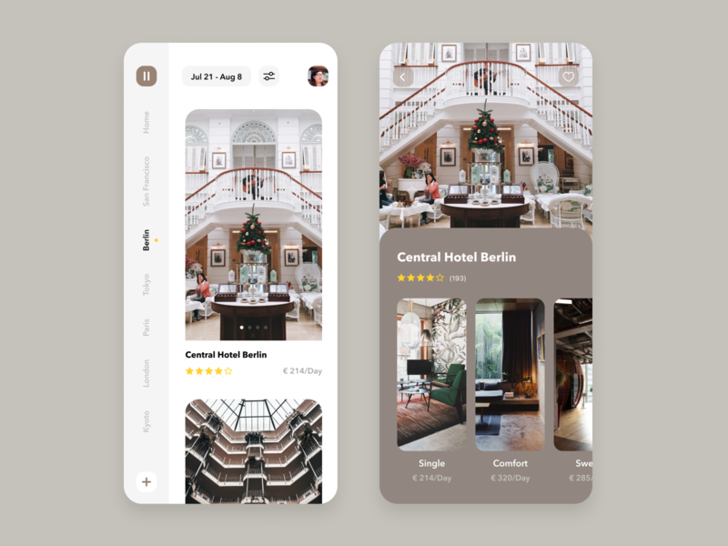 Daily UI Challenge #067 Hotel Booking rich fancy product card trending brown design mobile booking white hotel booking hotel iphone ios ui app design app simple dailyui daily ui
