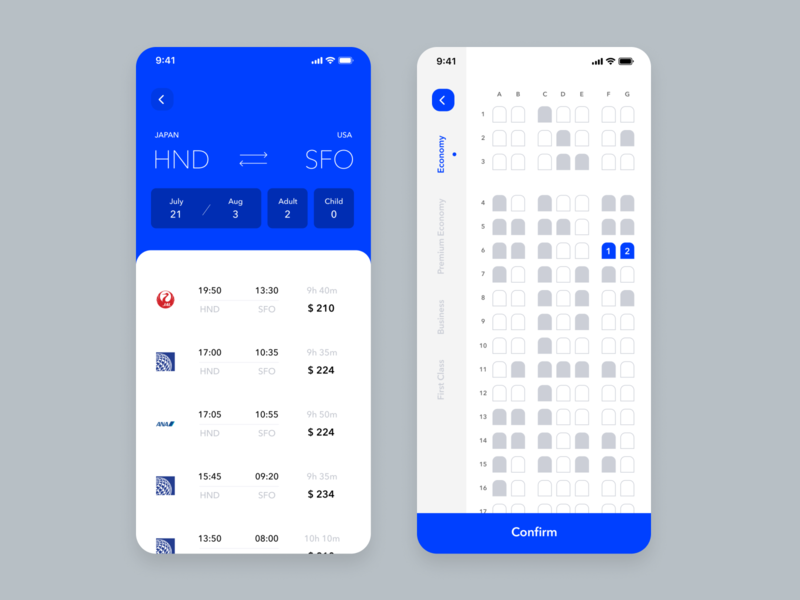 Daily UI Challenge #068 Flight Search branding trending white blue seat card product design ui flight ticket flight booking flight search flight iphone mobile app ios dailyui simple daily ui