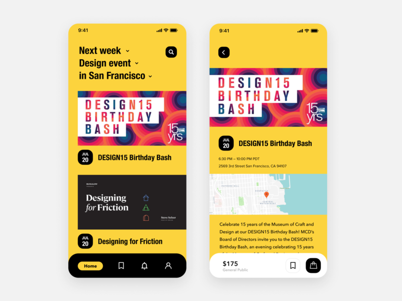 Daily UI Challenge #070 Event Listing bold dropdown trending product card tab listing event listing event black yellow dailyui ui design iphone mobile ios app daily ui simple