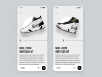 Daily UI Challenge #072 Image Slider cart trending typography white image slider shopping ecommerce shoes nike product card dailyui ui design iphone mobile ios app daily ui simple