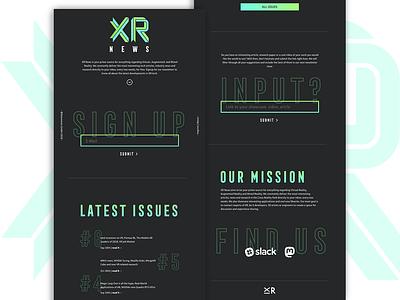 crossreality news webpage webdesign dark background newsletter landingpage gradient augmentedreality virtualreality