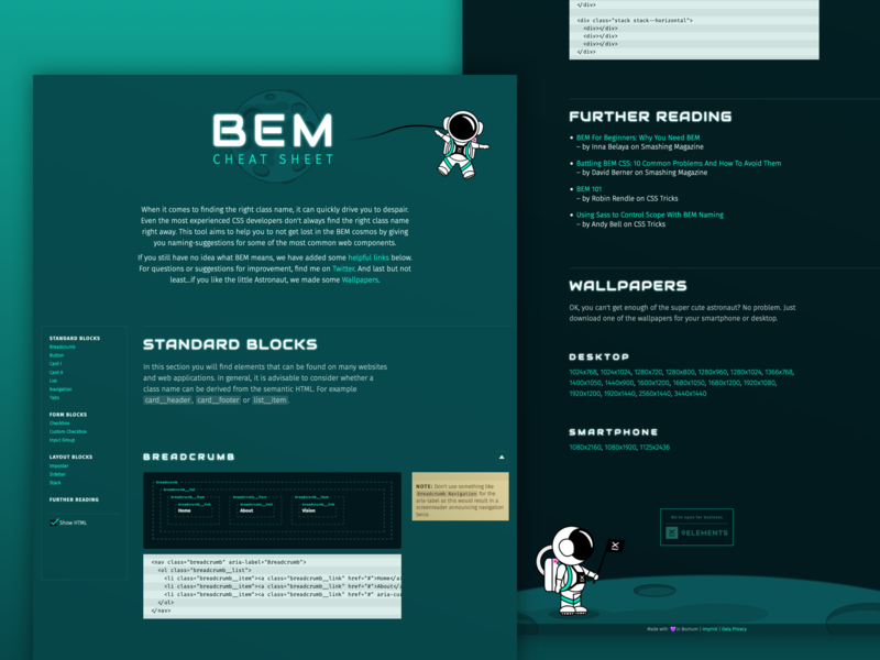 Website Design for BEM Cheat Sheet animation webdesign css