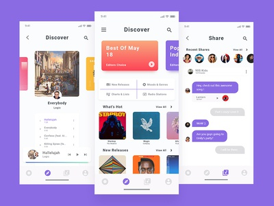UI Design for a music app with sharing features.
