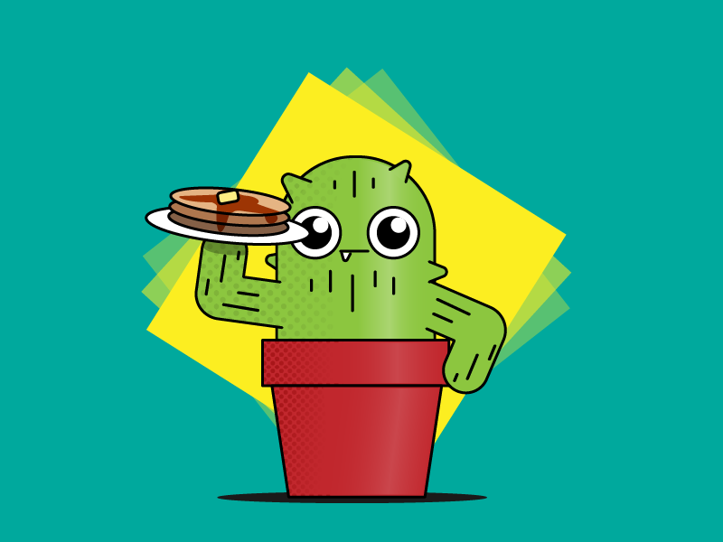 Pancake time!! breakfast pancakes vector cactus happy design illustration