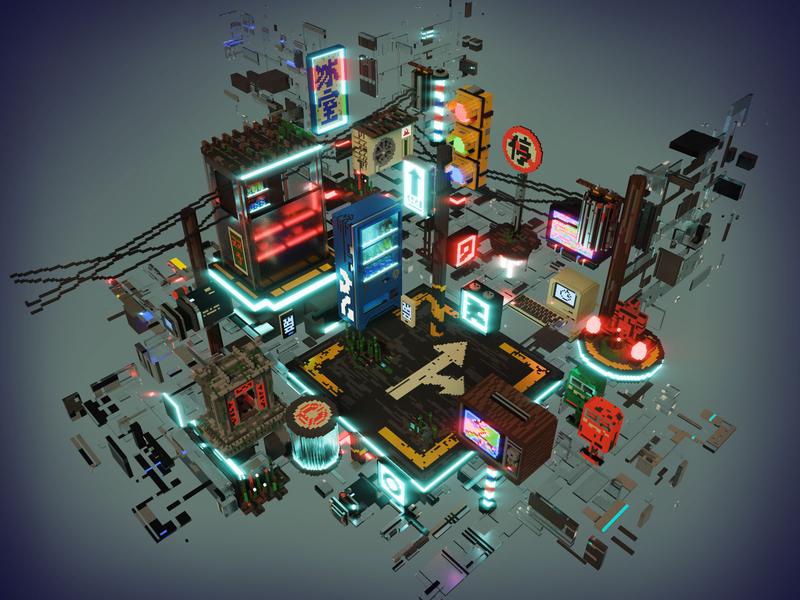 Screen Jam Taipei television tv shrine cyberpunk taipei taiwan voxel art voxel