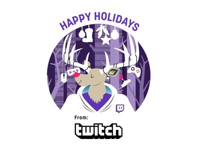 2014 Twitch Holiday Card (Old) adobe illustrator reindeer gaming animal christmas card seasons greetings holiday card twitch winter christmas holiday illustration deer