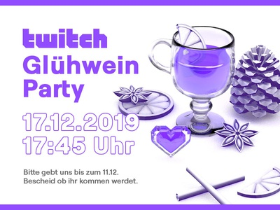 Twitch Germany - Mulled Wine Party 2019 3d illustration still life 3d germany twitch party c4d holiday holiday card winter christmas mulled wine holiday party invite party invitation