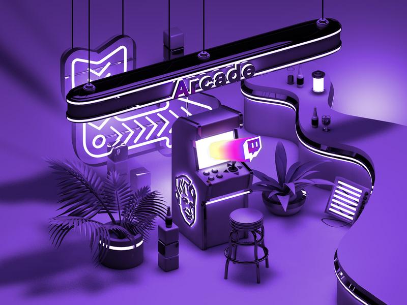 Twitch Barcade bar brewcade cinema 4d cinema4d c4d illustration 3d neon signs neon tron arcade barcade twitch gaming