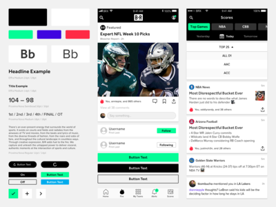 Bleacher Report Design System android ios typography atomic app sport app sports design ui ux mobile style guide design system bleacher report