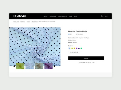 Web catalogue product page textile product page web catalogue