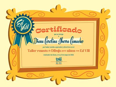 Certificado de Asistencia Workshop niños branding design certificate template certificate certificate design