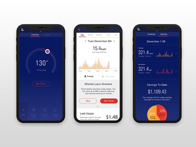 Heatworks Hero Screens dark interface monitoring energy savings data visualisation connected home smart home temperature app ui product design