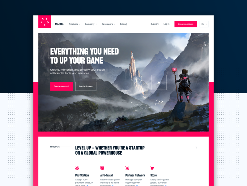 Full Xsolla Home Page Design website gaming art direction illustration ui product design web design