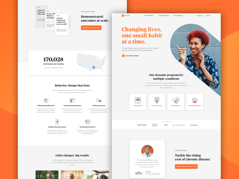 Omada Healh Home Page art direction uiux product design light interface behavior change digital health responsive web design