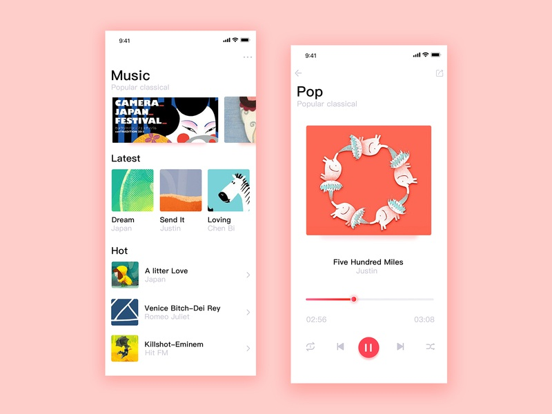 Music app color matching exercise 设计 自然 ps