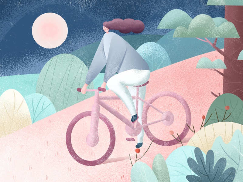 Cycling girl natural show 手绘 hand-painted 设计 ps