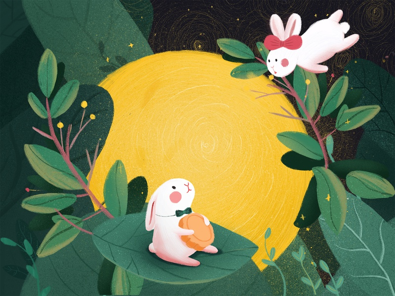 Mid-Autumn Festival on the moon hand-painted 设计 手绘 ps