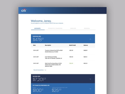 Dashboard for Citi online banking clean solid colors money interface ux ui dashboard bank finance financial services banking