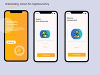 Onboarding screen for cryptocurrency