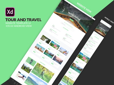 Tour and Travel website template UI design and IOS web ui free download web ui website mobile view booking website ui tour website free ui design psd template travel and tour ui green ui creative ui android ui website ui xd file graphic design adobe xd ios ui responsive ui travel website ui tour and travel website website templates