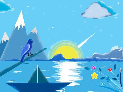 Summer night vector design romantic blue and black cool moon nature night life illuatration nightmode