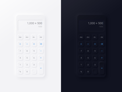 Neumorphism Calculator free UI kit branding website application application ui app ui ux app design user interface user experience