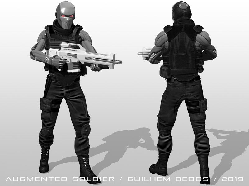 Augmented Soldier rifle mecha cyborg gun combattant fighter soldier cyberpunk concept art futuristic scifi future sciencefiction digital 3d 3d