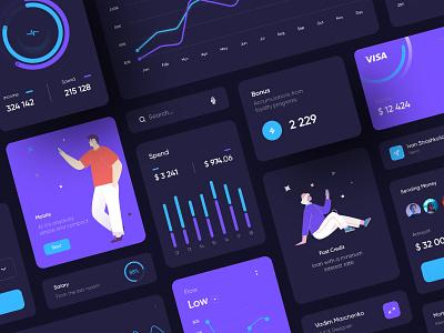 Banking Interface Dashboard Dark inspiration illustration vector branding card concept design ux ui interface bank app