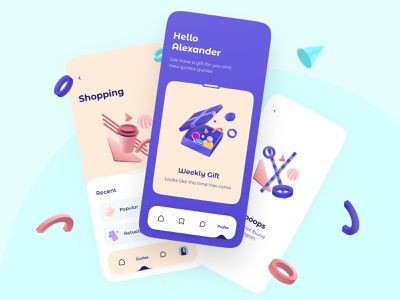 Guides app web typography ux ui design illustration shopping gift mobile interface app 3d guide