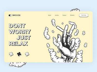 Landing Page Smoking ux ui app design vector illustration mobile interface creative style smoke web