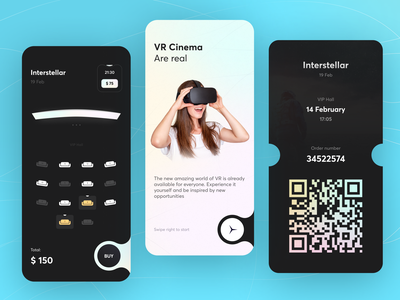 Cinema Booking Tickets creative inspiration mobile interface ux ui app onboarding bookings vr films ticket booking movies