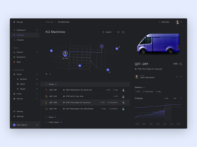 Arrival Dashboard Concept admin panel energy pin ux uiux chart analysis drive cars menu graphic dashboad map concept web app design interface ui arrival
