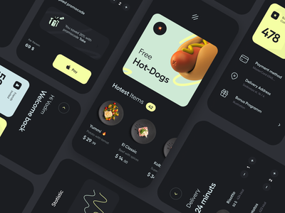Food delivery mobile application hawl web concept creative illustration iil sales profile branding interface dishes analytics dashboard inspiration mobile design delivery food app ui