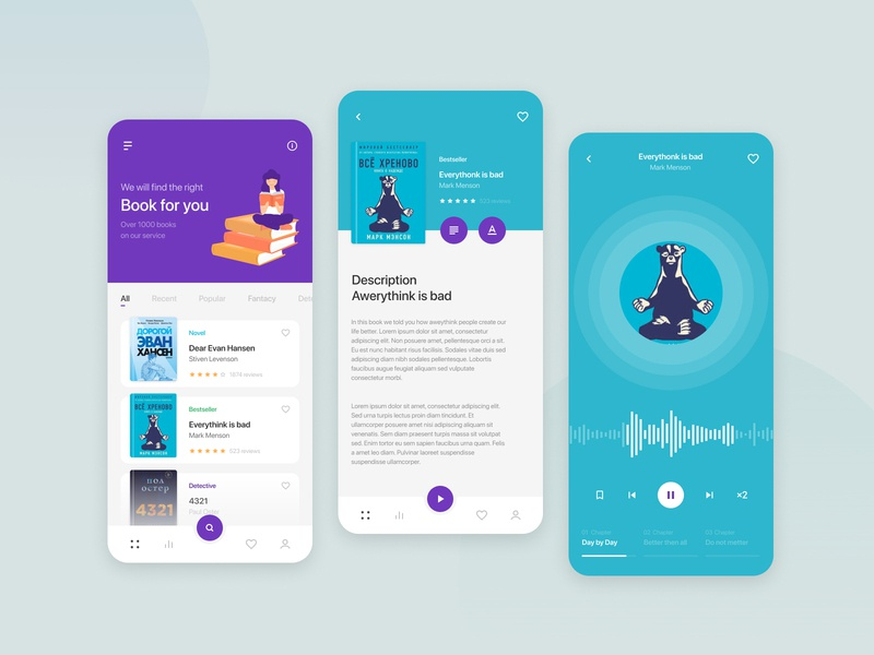 Book Library tranding voice visualisation webdesign iphone illustraion text music audio player mobile illustration ux ui app design creative concept library book