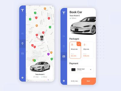 Tesla Car Sharing App booking inspiration interface daily ui app ux ui trip ride automobile ios app ios design auto sharing car