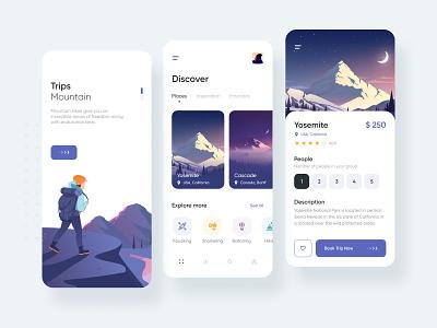 Travel App mountain travel ux vector illustration interface inspiration creative app ui design